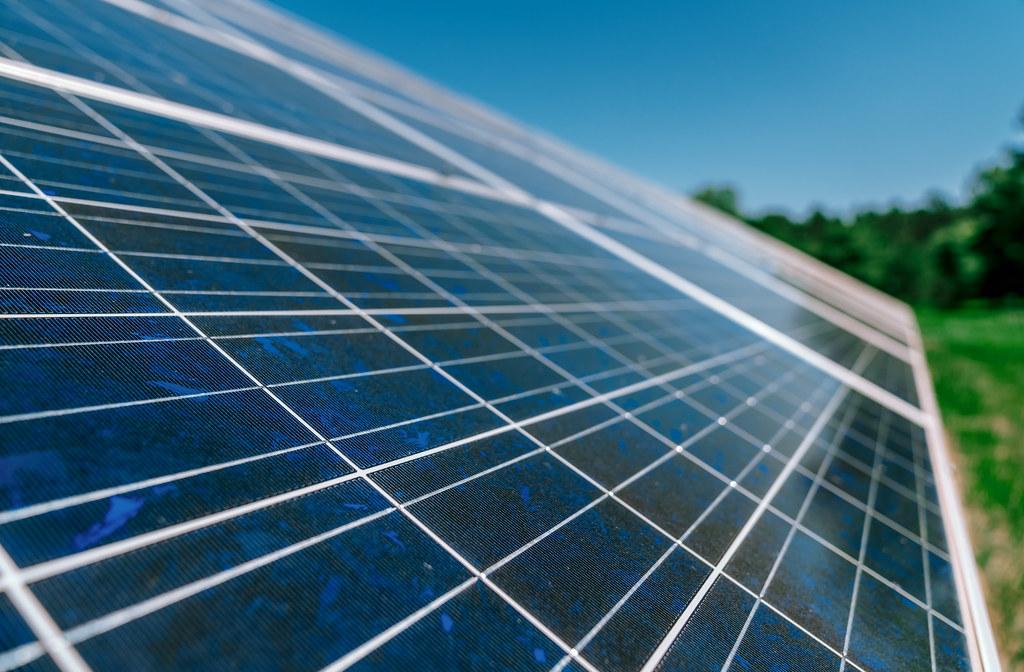 Solar panels at William O'Brien State Park near Marine on St. Croix, Minnesota.