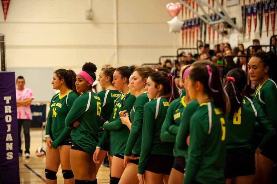 The volleyball team is lined up and ready for their game.