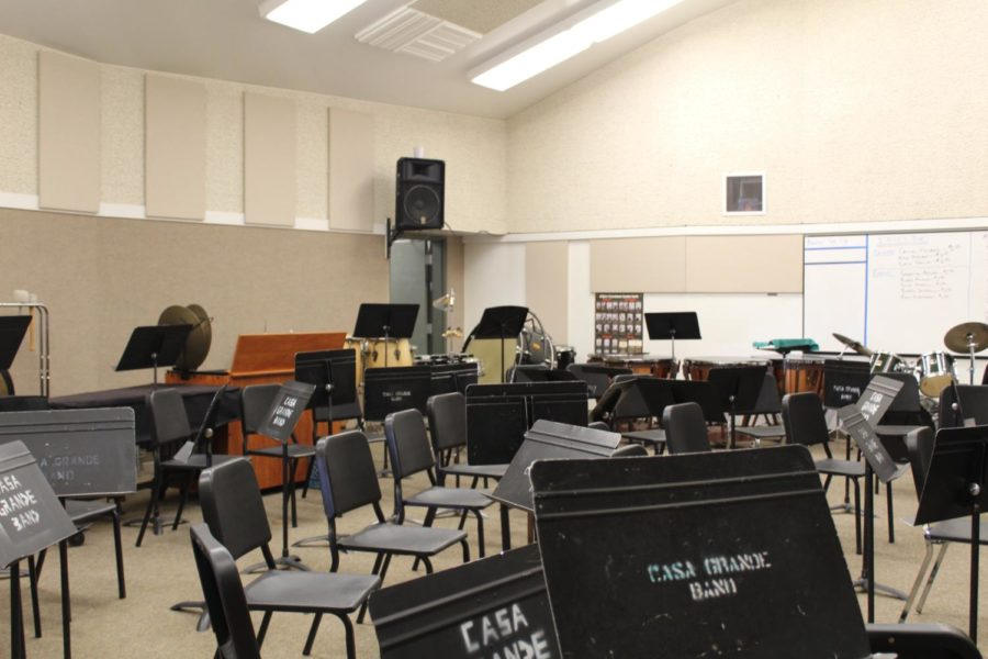 The empty band room during nutrition break.