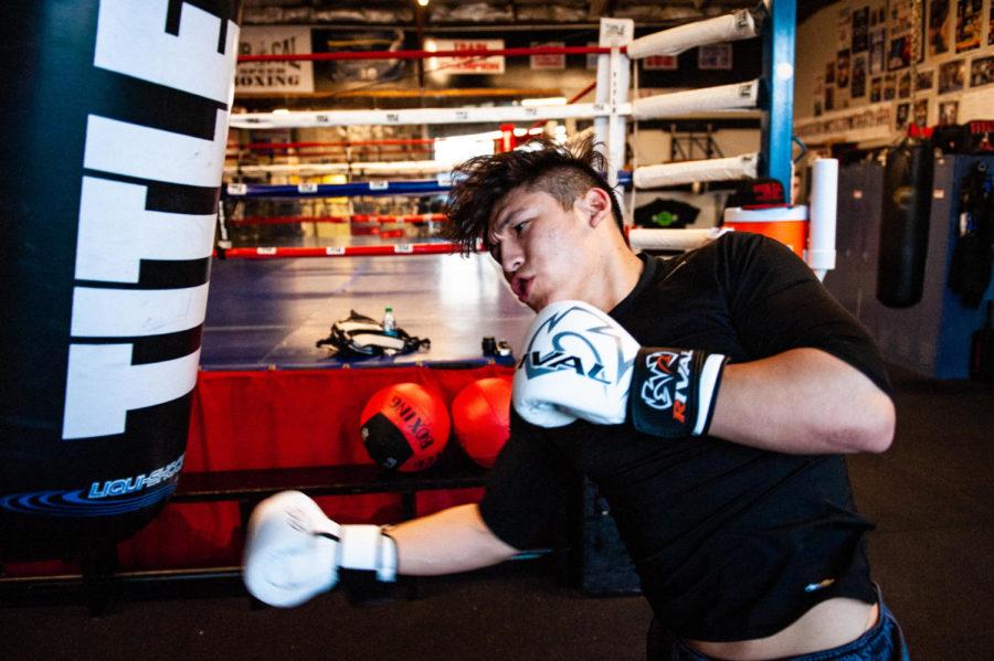 Boxer Josmar Altamirano practices his skills at Nor-Cal Speed Boxing