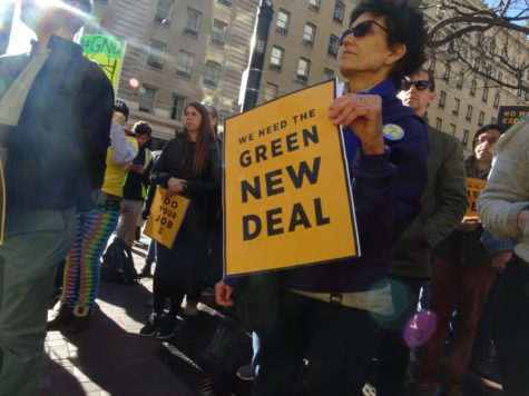 Protestors rally in support of the Green New Deal and in opposition of climate change.