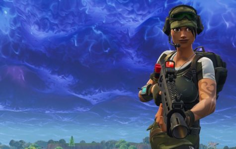 A Fortnite character scopes out an oncoming attacker with her gun at the ready/